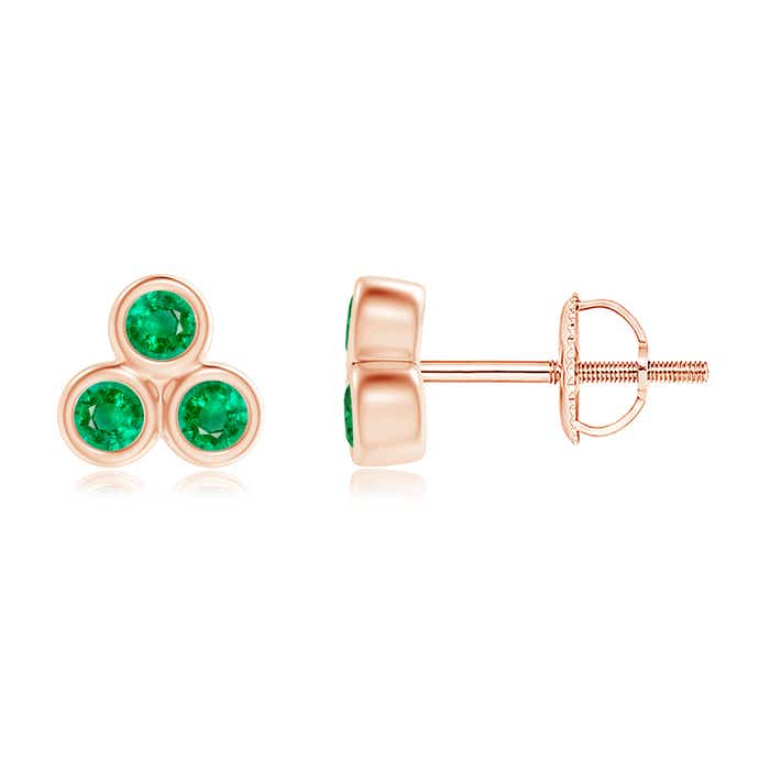Angara V-Prong Set Emerald and Diamond Flower Stud Earrings sstN8sY2SD