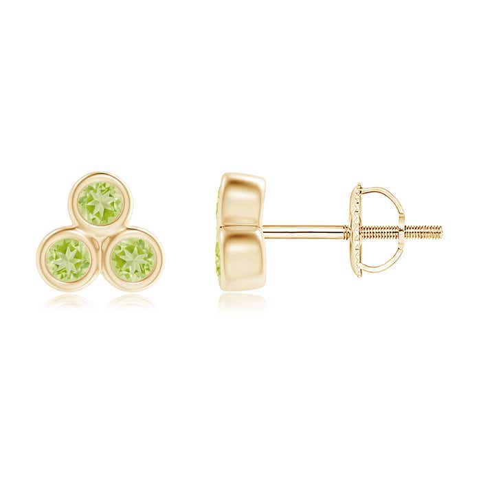 Angara Prong Set Peridot Stud Earrings in White Gold 3Q8b0