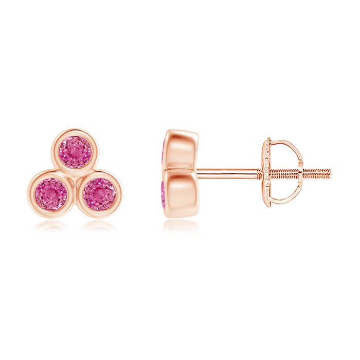 Angara Solitaire Pink Sapphire Stud Earrings in Rose Gold rE0bfc52mT