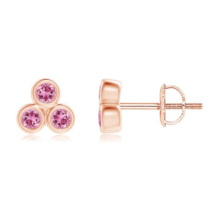 Angara Pink Tourmaline Stud Earrings in 14K White Gold nbGIb