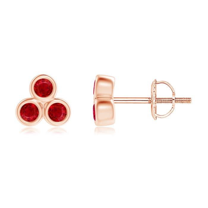 Angara Pear-Shaped Ruby Clover Stud Earrings with Diamonds OWwmyUl