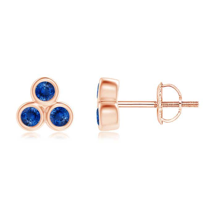 Angara Six Petal Diamond and Sapphire Flower Stud Earrings in Rose Gold AQTur