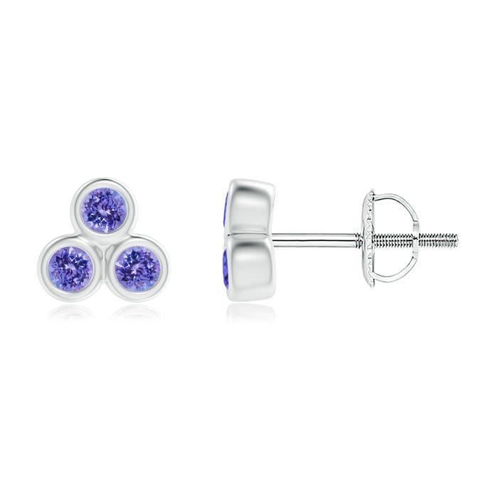 Angara Bezel Set Diamond Stud Earrings in White Gold Y9asYdPVL