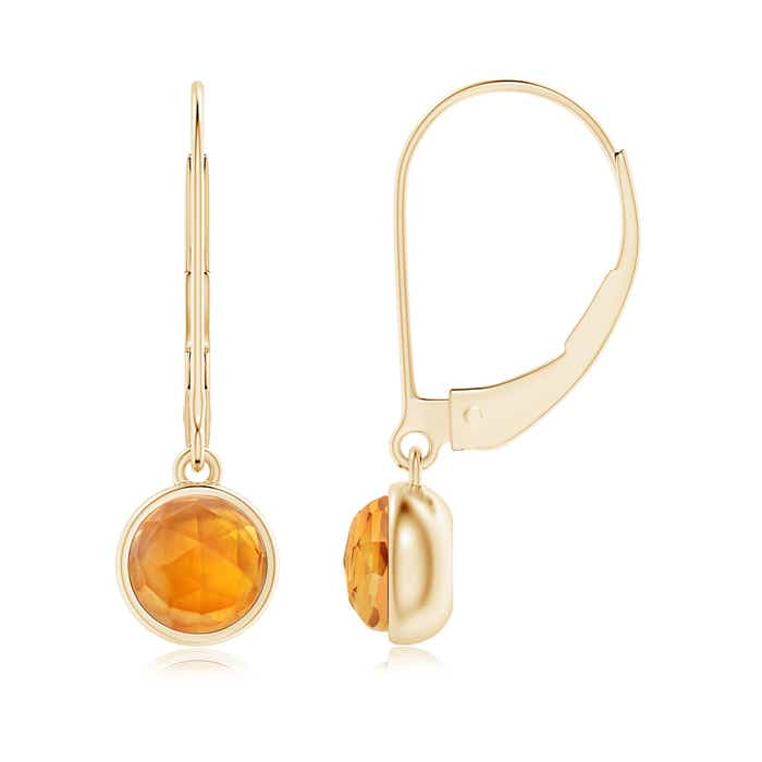 Angara Bezel Drop Citrine Solitaire Earrings with Diamond in Rose Gold ZpS8l