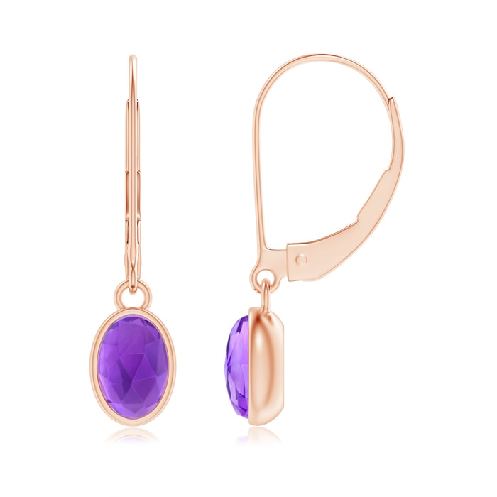Angara Floating Oval Amethyst Dangle Hoop Earrings with Diamonds 8VJJL