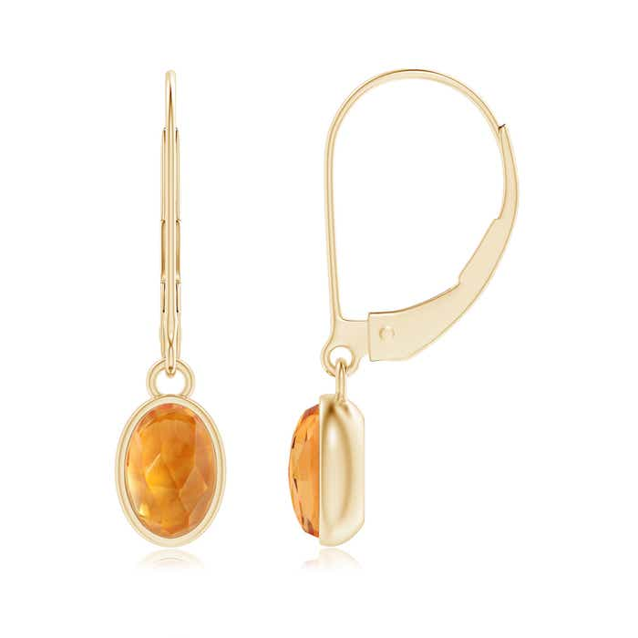 Angara Yellow Gold Citrine Leverback Earrings 7svR8VQmHo