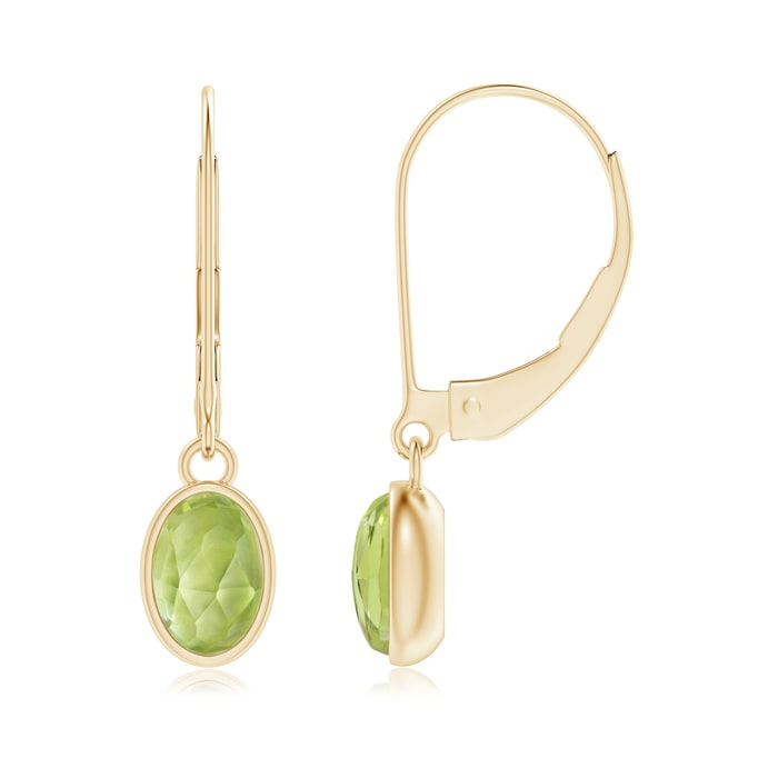 Angara Leverback Peridot Drop Earrings in Rose Gold