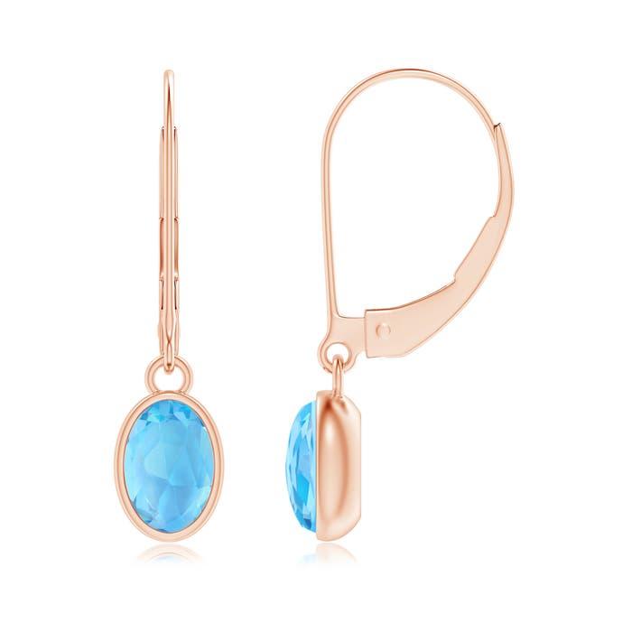 Angara Bezel-Set Oval Swiss Blue Topaz Solitaire Drop Earrings Cw2kKE