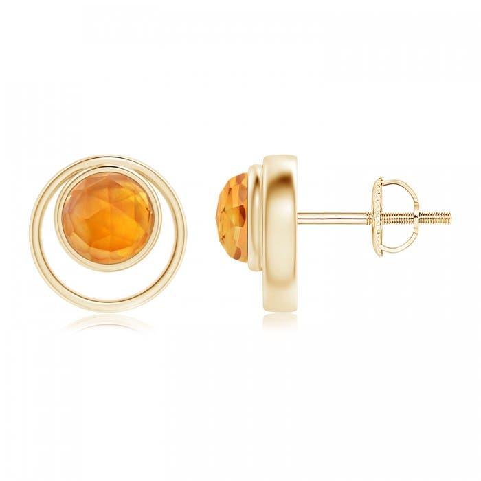 Angara Citrine Basket-Set Stud Earrings in Rose Gold uN2RpPWBM