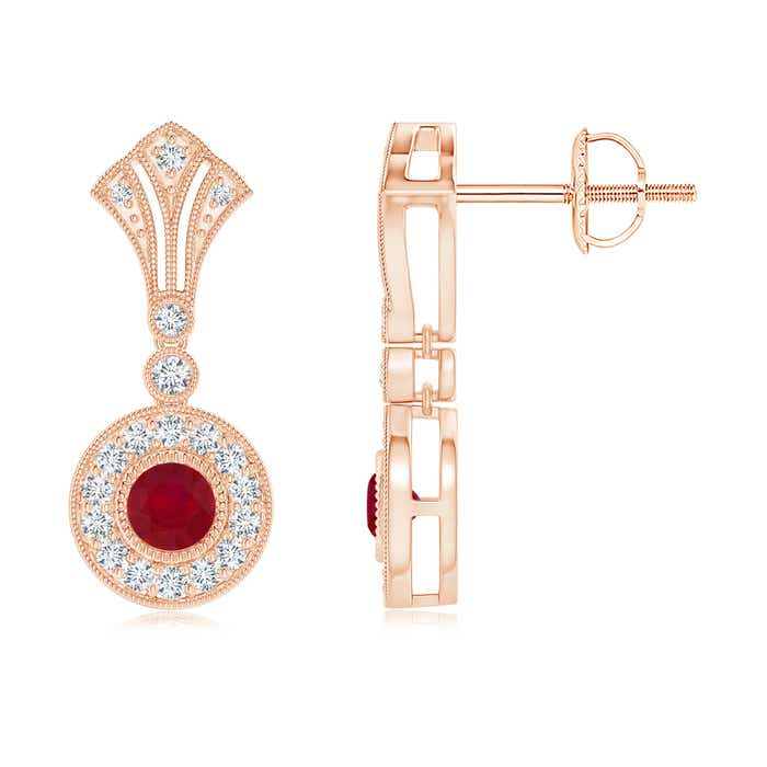 Angara Dangling Ruby and Diamond Halo Earrings with Milgrain in Yellow Gold