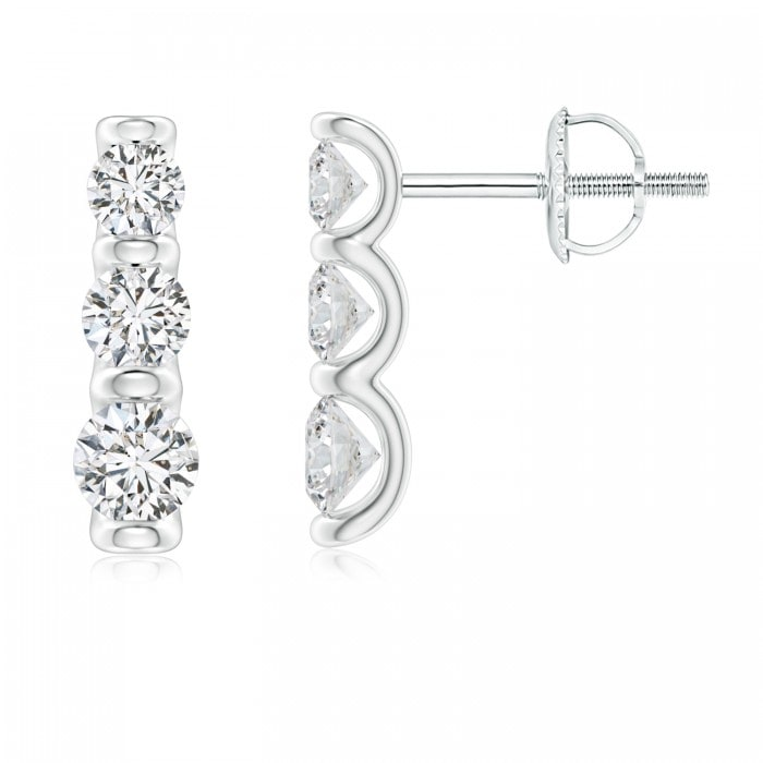 Angara Graduated Princess Diamond Three Stone Earrings LEpu4IKi