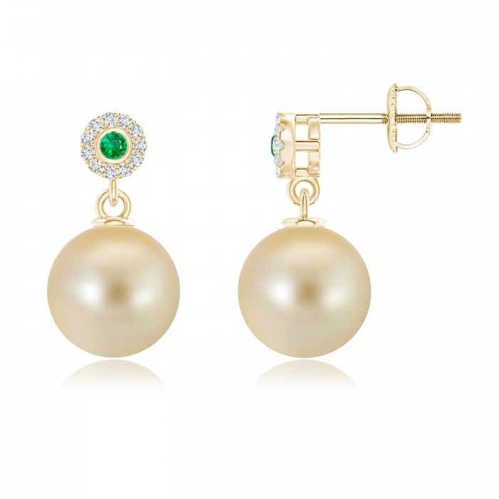 Angara Golden South Sea Cultured Pearl and Emerald Drop Earrings orgOM8Hp
