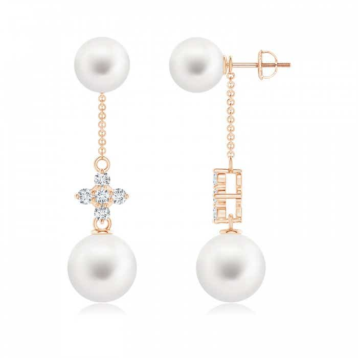 Angara Freshwater Cultured Pearl Drop Earrings with Twin Diamonds 4zYV3l