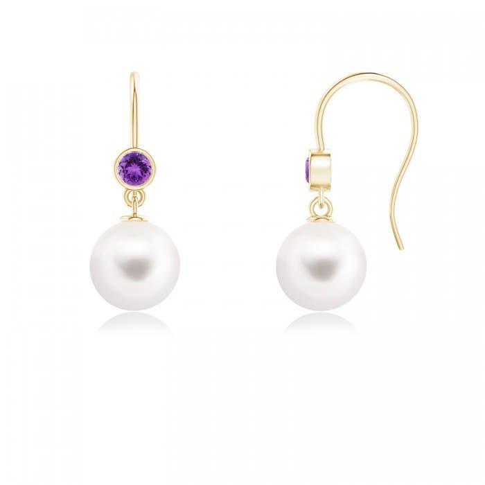 Angara Freshwater Cultured Pearl Earrings with Bezel Citrine 9tpv3