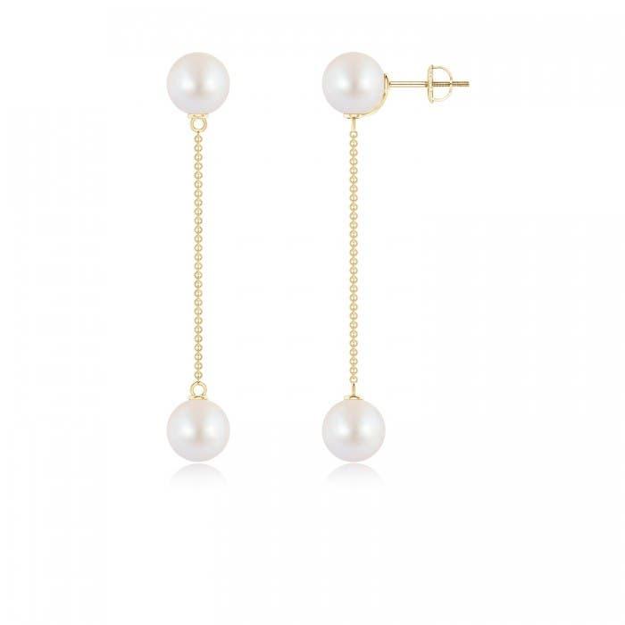 Angara Two Stone Akoya Cultured Pearl Front Back Earrings 87vtqDz4u