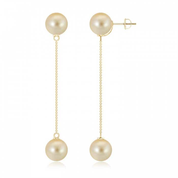 Angara Golden South Sea Cultured Pearl Long Chain Drop Earrings