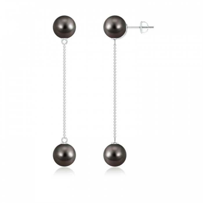 Angara Tahitian Cultured Pearl Long Drop Earrings with Diamonds GD8jl7tR