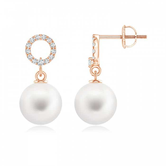 Angara Freshwater Cultured Pearl and Diamond Drop Earrings
