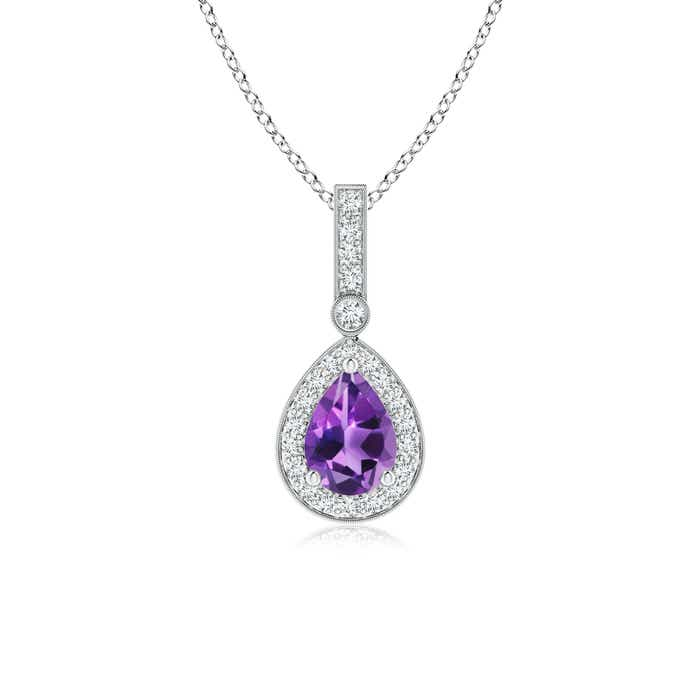 Angara Diamond Halo Amethyst Drop Pendant White Gold wS35A