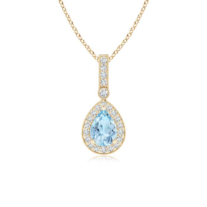 Angara Dangling Aquamarine Drop Pendant with Diamond Halo 5QER4a9WWT