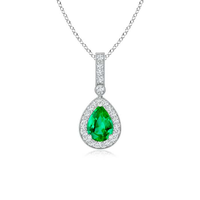 Angara Diamond Halo Emerald Teardrop Pendant Platinum