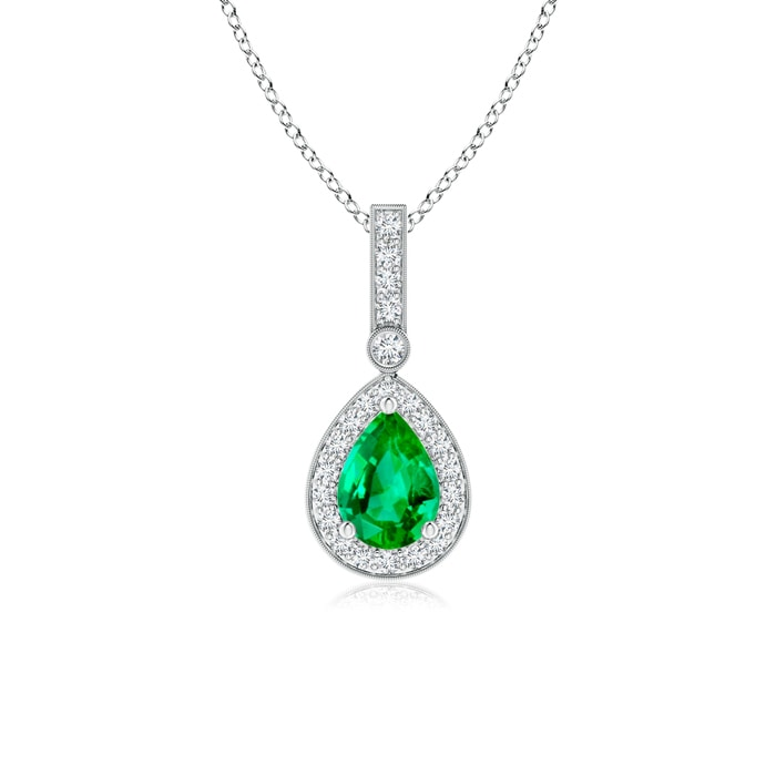 Angara Vintage Style Emerald Pendant with Diamond Halo