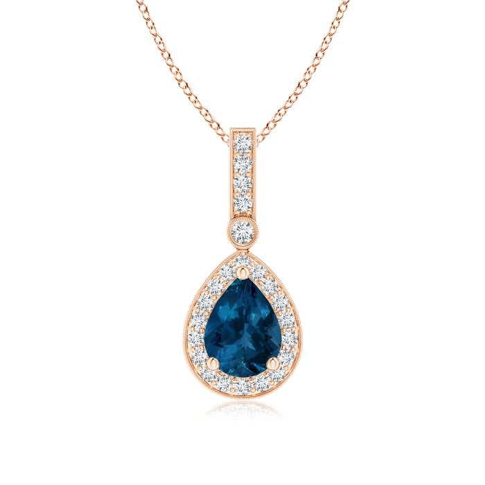 Angara Pear London Blue Topaz Pendant with Diamond Halo in 14K Rose Gold
