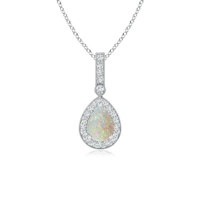 Angara Bezel-Set Opal Pendant with Coffee Diamond Halo WFfMsZN
