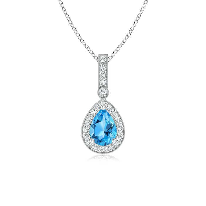 Angara Pear Drop Swiss Blue Topaz Diamond Halo Vintage Pendant in Platinum eQebo