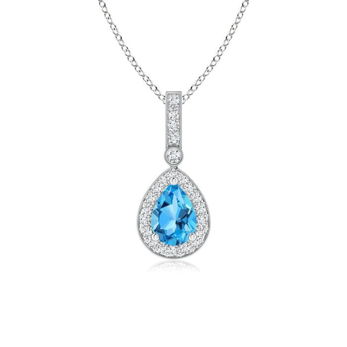Angara Yellow Gold Diamond Halo Swiss Blue Topaz Drop Pendant LmHN8SDQn9