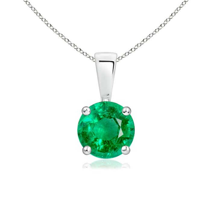 Angara Solitaire Emerald Knot Necklace in Rose Gold