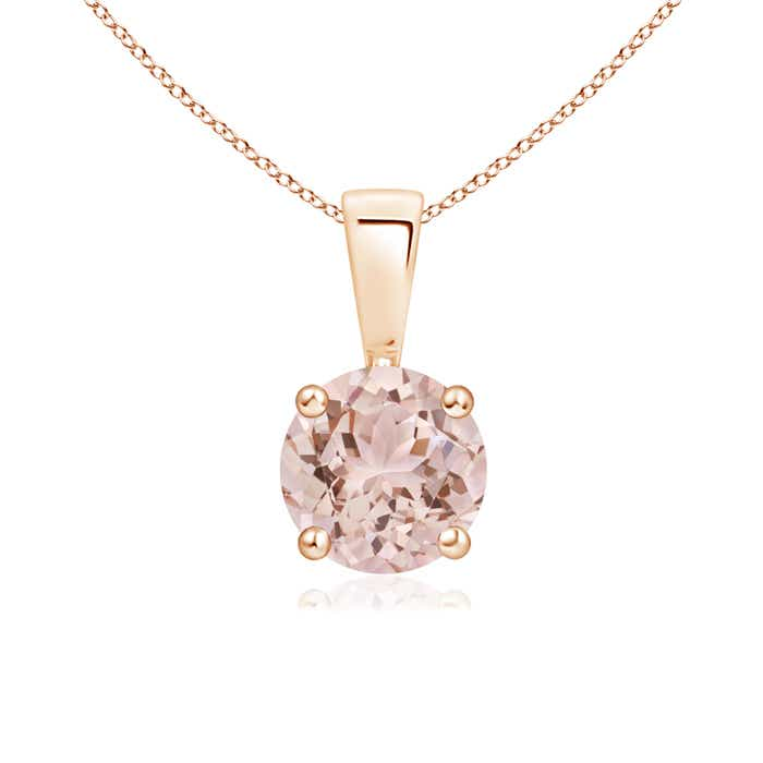 Angara Round Morganite Solitaire Necklace in Rose Gold