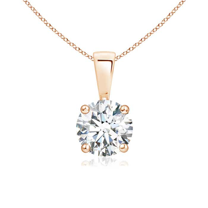 Angara Round Moissanite Solitaire Necklace in Rose Gold mXQFcvRI