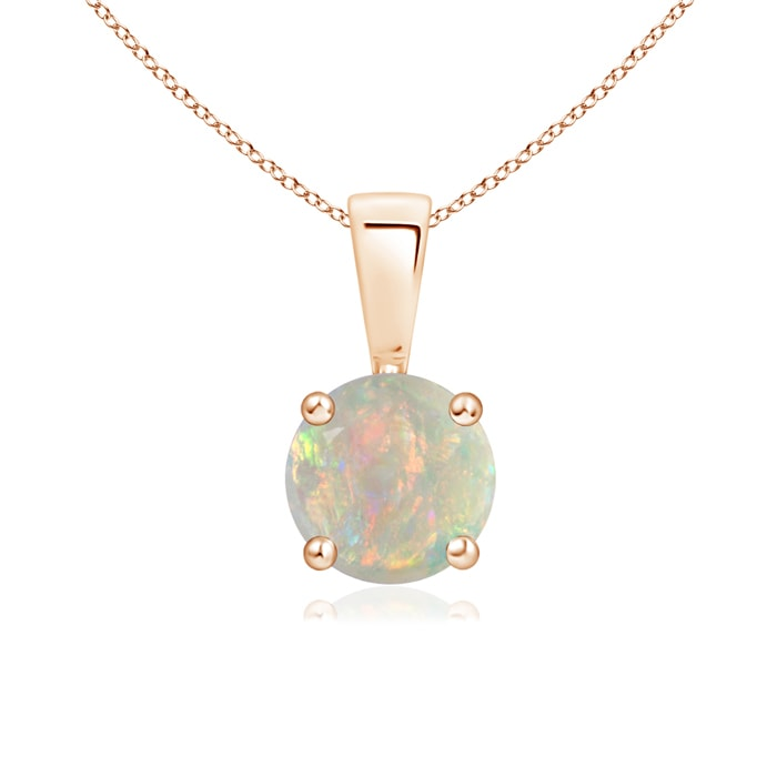 Angara Solitaire Round Opal Pendant with Diamond Bale
