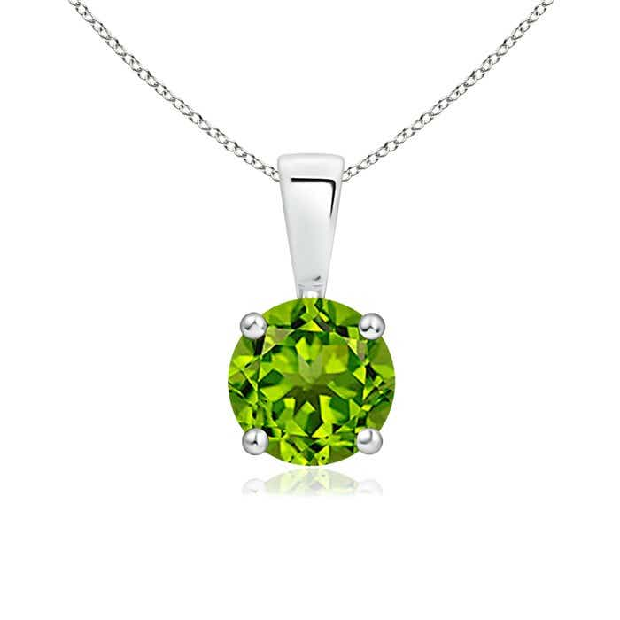 Angara Round Peridot Necklace for Women in Platinum