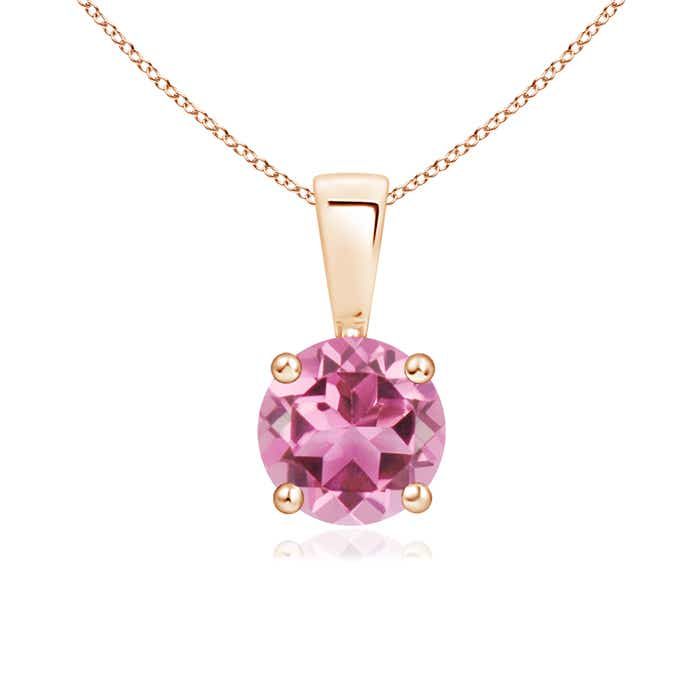 Angara Solitaire Round Pink Tourmaline Pendant in 14K Rose Gold 3pjWKnyqf