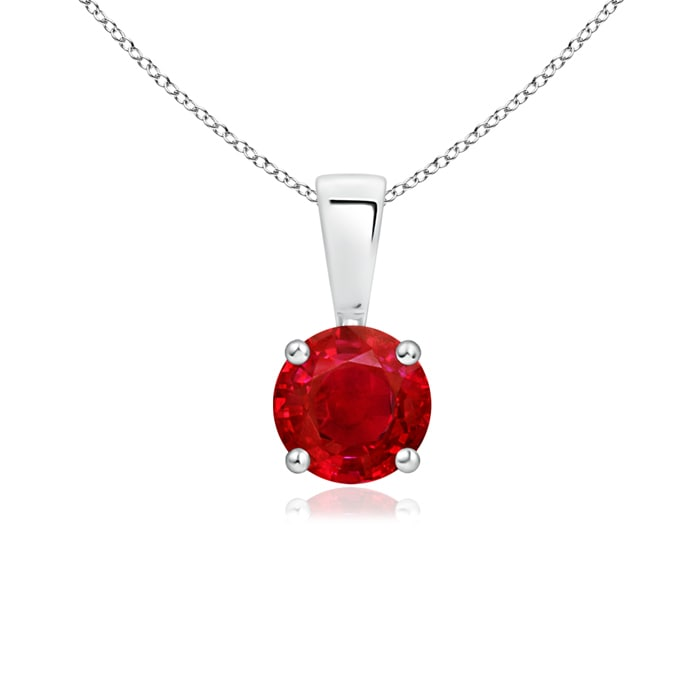 Angara Round Ruby Three Stone Necklace in 14k White Gold JJvrrX