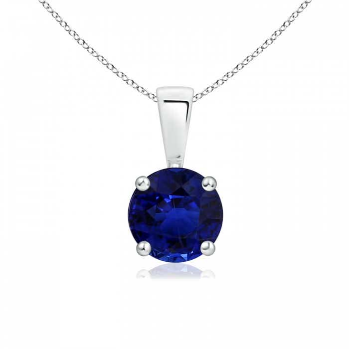 Angara Classic GIA Certified Sapphire Solitaire Pendant with Diamond