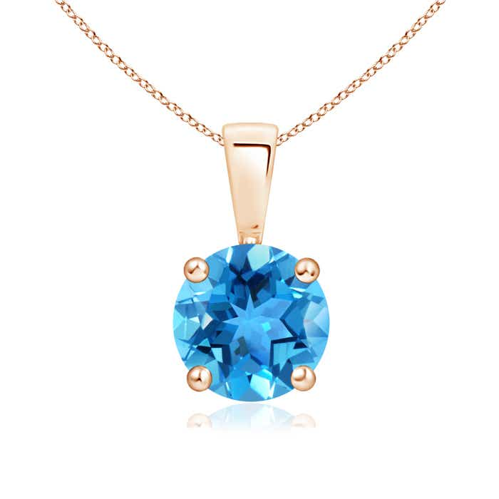 Angara Swiss Blue Topaz Diamond Solitaire Pendant in Rose Gold