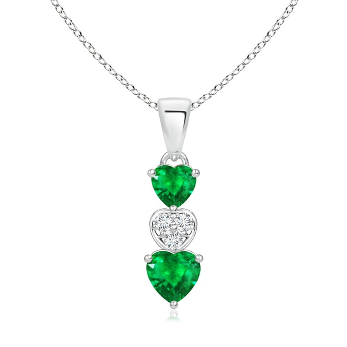 Angara Emerald and Diamond Pendant in 14k White Gold 73USSKL