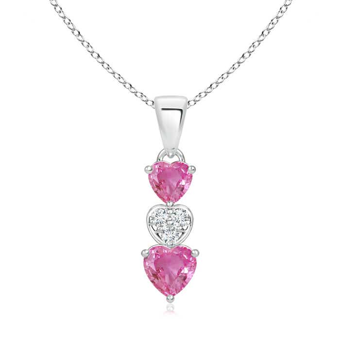 Angara Dangling Pink Sapphire and Diamond Triple Heart Pendant in Rose Gold TBPhOl3C
