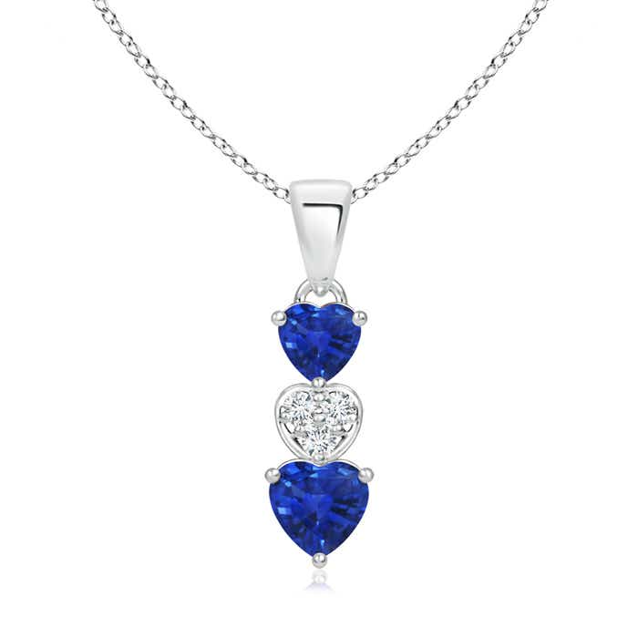Angara 4mm Blue Sapphire Pendant in White Gold