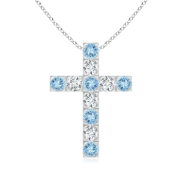Angara Flat Prong-Set Aquamarine and Diamond Cross Pendant Etmm12MQ