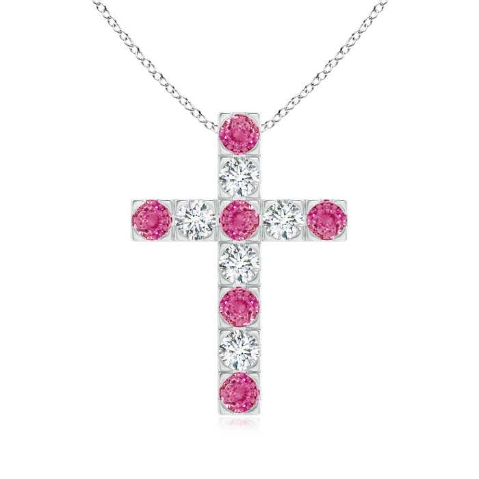 Angara Sapphire Cross Pendant in Rose Gold Gxv4a