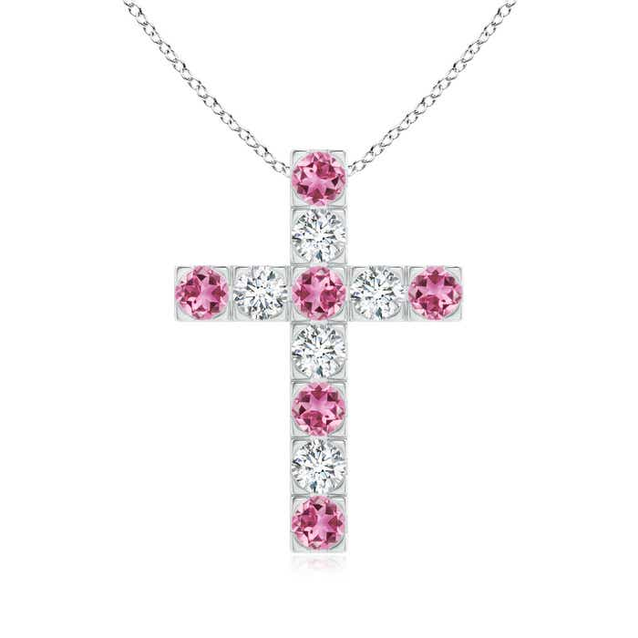 Angara Flat Prong-Set Pink Tourmaline Diamond Cross Pendant in Yellow Gold