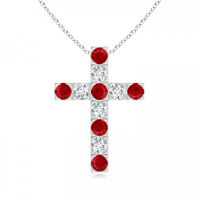 Angara Flat Prong-Set Ruby and Diamond Cross Pendant vFnOhP