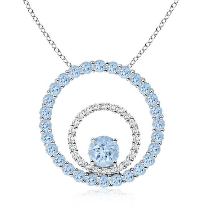 Angara Round Aquamarine and Diamond Circle Pendant