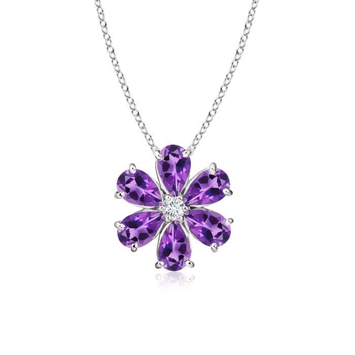 Angara Diamond Framed Amethyst Clover Pendant t7owX