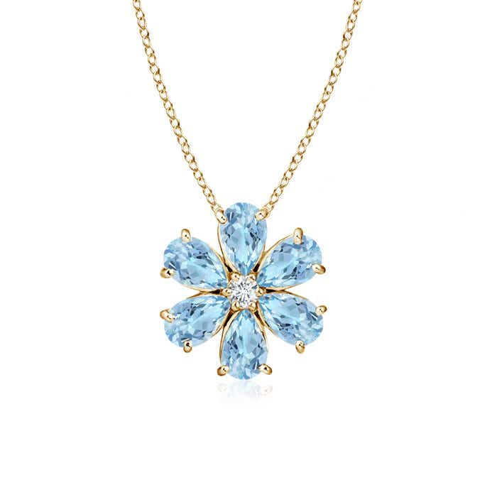Angara Aquamarine Flower Cluster Pendant with Diamond acfnJTV