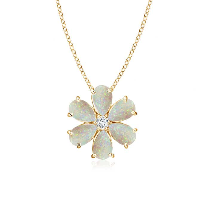 Angara Opal Flower Cluster Pendant with Diamond
